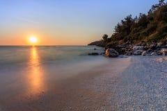 大理石海滩Saliara海滩, Thassos海岛,希腊 免版税库存照片