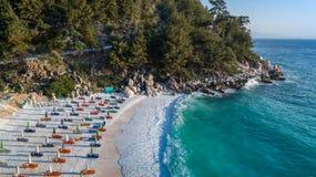 大理石海滩Saliara海滩, Thassos海岛,希腊 免版税库存图片