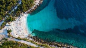 大理石海滩Saliara海滩 希腊海岛thassos 库存图片