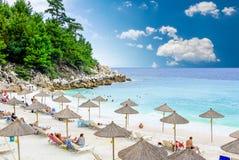大理石海滩(Saliara海滩), Thassos海岛,希腊 库存照片
