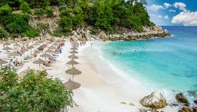 大理石海滩(Saliara海滩), Thassos海岛,希腊 免版税图库摄影