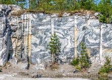 大理石猎物和岩石在卡累利阿共和国 免版税库存照片