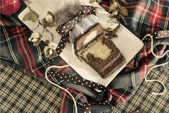 大理石花纹蛋糕圣诞节 免版税库存图片