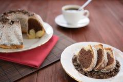 大理石花纹蛋糕用可可粉,黑暗的巧克力和洒与糖 库存照片