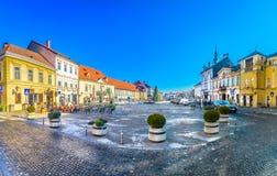 大理石萨莫博尔镇,克罗地亚全景  免版税库存图片