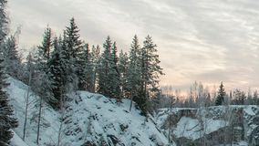 大理石kanyon在Ruskeala,卡累利阿在冬天,俄罗斯 影视素材