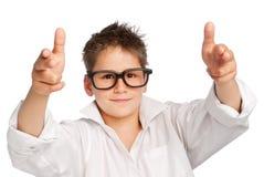 大男孩玻璃衬衣白色 库存照片