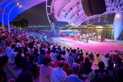 大男孩音乐会人群女孩晚上看见坐阶段 免版税库存照片