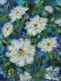 大白色领域夏天开花,油画 免版税库存照片