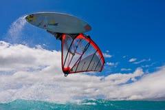 大的航空获得风帆冲浪者 免版税库存照片