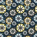大的色环和小几何无缝的样式 库存例证
