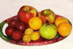 大盘子用各种各样的果子 免版税库存照片