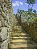 大石台阶在马丘比丘市 免版税库存照片