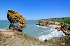 大石头以头的形式在海滩的 免版税库存照片
