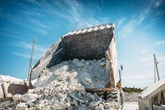 大矿用汽车卸载被开采的矿石或白垩或者石灰石 从后面的看法 图库摄影