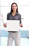 大笔生意看板卡确信的显示的妇女 库存图片