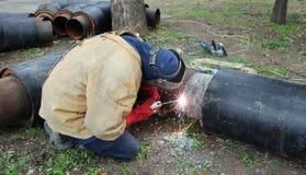 大管道二焊工焊接 库存照片