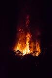 大篝火在晚上 免版税库存图片