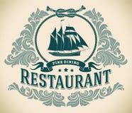 大篷车-美好的用餐的餐馆标签 免版税库存图片