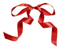 大红色丝绸丝带弓 免版税库存图片