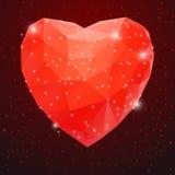大红色发光的金刚石心脏 免版税库存照片