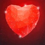 大红色发光的金刚石心脏 图库摄影