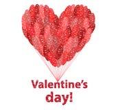 大红色心脏由气球制成 免版税库存照片