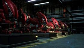 大红色机器人系列行在放射性微尘的力量的在垫座的在车间在晚上 未来派的科学幻想小说 库存例证