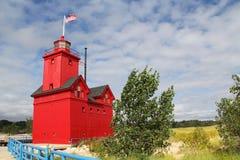 大红色灯塔在荷兰密执安 图库摄影