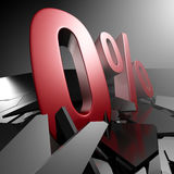 大红色百分之零标志 免版税库存照片