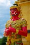 大红色雕象 库存照片