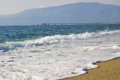 大约卡拉布里亚,意大利的海滩 免版税库存图片