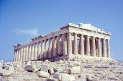 大约20世纪60年代的葡萄酒照片,帕台农神庙,古老纪念碑,雅典希腊 图库摄影