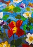 大纹理摘要花 关闭油画艺术性的花图象的片段 调色刀开花宏指令 宏观艺术家` 库存照片
