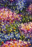 大纹理摘要花 关闭油画艺术性的花图象的片段 调色刀开花宏指令 宏观艺术家` 免版税库存图片