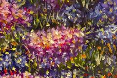 大纹理摘要花 关闭油画艺术性的花图象的片段 调色刀开花宏指令 宏观艺术家` 免版税图库摄影