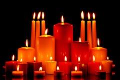 大组混杂蜡烛烧 免版税库存图片