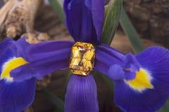 大绿宝石在花的被切开的黄色青玉 免版税库存图片