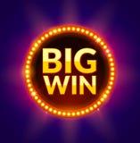 大网上赌博娱乐场、槽孔、打牌、啤牌或者轮盘赌的胜利发光的横幅 困境得奖的设计背景 优胜者 免版税库存照片