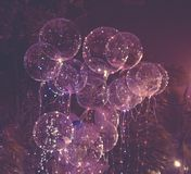 大美丽的胶凝体气球、被绘的光和电灯泡 做的照片2012年8月9日 图库摄影