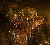 大美丽的胶凝体气球、被绘的光和电灯泡 做的照片2012年8月9日 库存照片