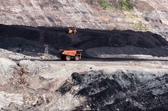 大翻斗车是采掘机械或者采矿设备到trans 免版税图库摄影