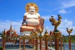 大肥胖菩萨微笑的雕象 免版税库存照片