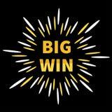 大胜利横幅 金黄文本 星爆炸破裂了网上赌博娱乐场的,轮盘赌,啤牌,老虎机,打牌装饰元素 库存例证