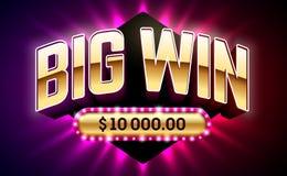 大胜利赌博娱乐场横幅 向量例证