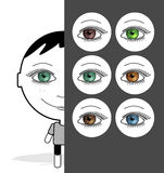大色的眼睛女孩 免版税库存图片