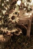 大花花束在一把扶手椅子旁边的在庭院里 免版税库存照片