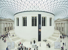 大英博物馆中央大厅和天花板,伦敦,英国 图库摄影
