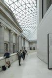 大英博物馆的内部与给上釉的机盖的 免版税库存照片