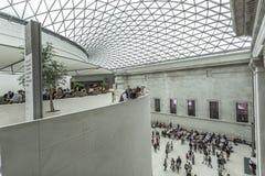 大英博物馆的内部与给上釉的机盖的 免版税库存图片